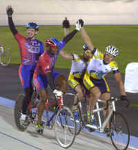 Kirk Whiteman and Matt celebrate a win over the Australian Team of Steven Gray and Dave Murray at the WE Media Tandem Invitational in Trexlertown, Pennsylvania (Photo by Ed Landrock, The Morning Call)