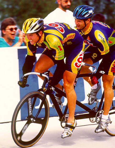 Picture of Garth Blackburn and Matt King competing in the Match Sprints at the 1999 Elite Nationals in Trexlertown, Pa.