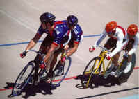 Garth and Matt in the lead against Team Japan at the 1998 IPC World Cycling Championships in Colorado Springs, Colorado. (Photo by Casey Gibson)