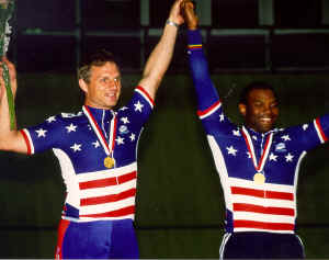 Kirk Whiteman and Matt win the men's match sprints at the 2000 Paralympic Track Cycling Trials in Frisco, Texas. (Photo by Casey Gibson)