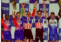 Kirk and Matt win silver at the 2000 EDS Elite National Track Cycling Championships in Colorado Springs, Colo. From left to right (Kirk Whiteman, Matt (second place)  Mike Grabowski, Mike Beers (first place), Chris Vogel and Paul Marshall (3rd place), Paul not pictured.
