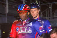 Kirk and Matt at the Lehigh Valley Velodrome in Trexlertown, Pennsylvania. (Photo by Donna Chiarelli, Lehigh Valley Velodrome)